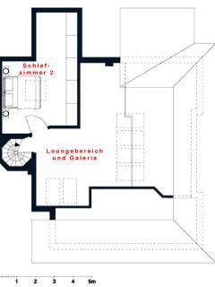 Floorplan of the lounge area and gallery