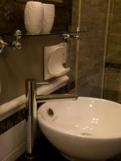 Florence Room - gorgeous bathroom with custom shower & soaker tub.