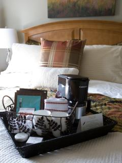 Florence Room - amenity tray providing free in room tea and coffee making supplies.