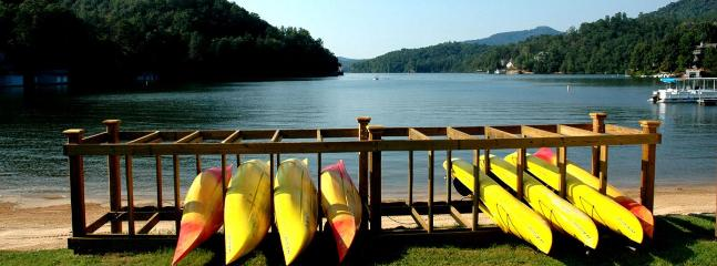 Kayak and canoe rentals located at North Shore Beach Cabana.