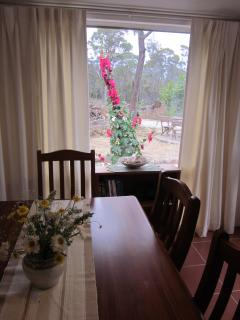 view of garden and bbq area from dining room.