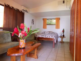 Bedroom #1 Double bed, living area, TV, full bath, ocean view (sleeps 2)