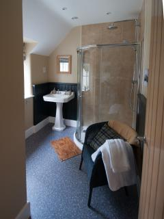 The spacious shower room is adjacent to the Main Bedroom - Dorset based Farrow and Ball paints!