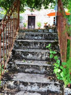 old steps leading down to lower gardens