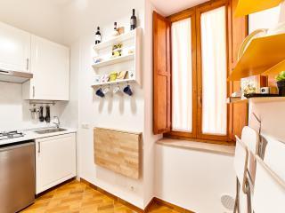 cucinotto provvisto di frigo, piano cottura, lavabo, stoviglie bollitore elettrico, tavolo a ribalta