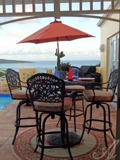 Private pool deck with outdoor dining, BBQ grill, lounges and fantastic views