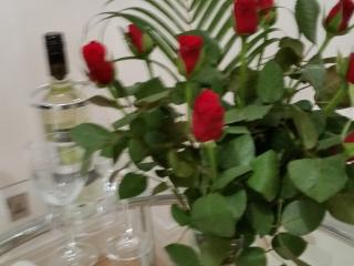 VALENTINE SPECIAL OFFER includes Prosecco and red roses.
