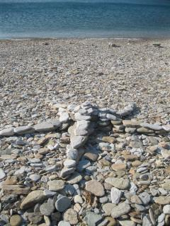 An artist's creation, next to the sea.