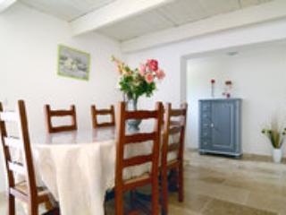 une salle à manger qui donne sur la terrasse arborée
