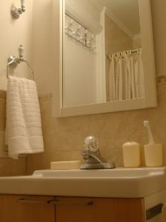 Sink and shower from the mirror