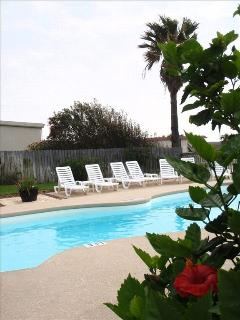 Our swimming pool has a large patio area with loungers and tables.