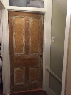 Original reclaimed  bathroom door found in the barn
