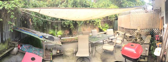 Back patio--grill/small waterfall/cornhole/dog bed/firepit
