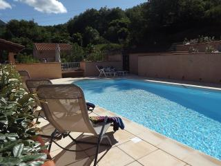 Large crystal clear swimming pool 9m x 4.5m.  Surrounded by stunning garden and mountain views.