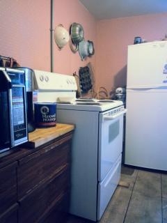 Galley kitchen  in separate room of restored kitchen