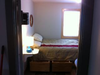 Queen, latex foam mattress, made in Maine pine bed with drawers.