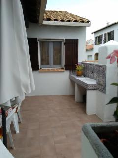 terrasse avec evier et eau courante plus prise electrique pour grillades et trés grande table
