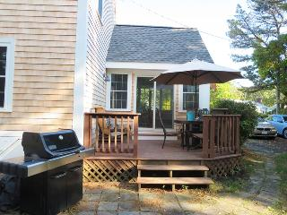 Deck with dining and gas grill-22 Bassetts Lane West Harwich New England Vacation Rentals Cape Cod