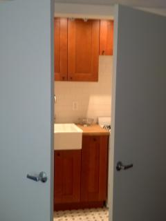 Doors conceal kitchenette when not in use