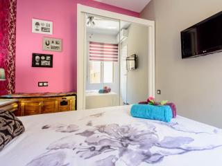 Dormitorio con amplio armario y TV plasma
