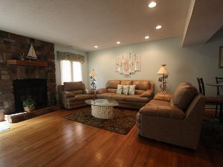 Gleaming hardwood floors, leather furniture, stone fireplace and much more