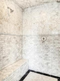 Master bathroom double shower and steam room
