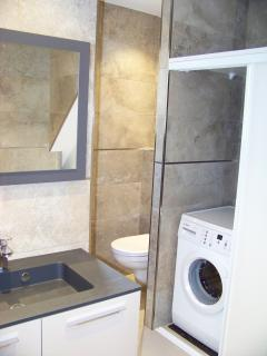 la salle de bain avec lave linge