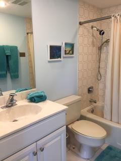 Private second bath off bedroom. Condo has a powder room too!