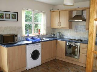 kitchen area with fridge, freezer, oven, electric hob, washing machine and microwave