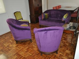 re-upholstered living-room.