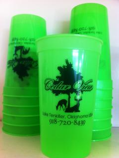 Exclusive 22oz cups just right for holding your beverages without spillage