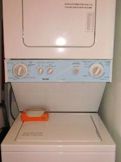 Stackable Washer and Dryer in the unit. Soap provided by the front office.