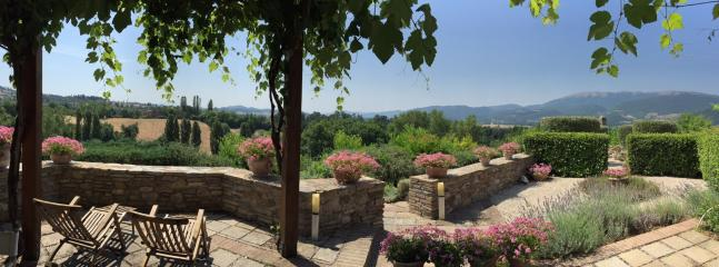 Fabulous views from the shaded terrace with outdoor dining.