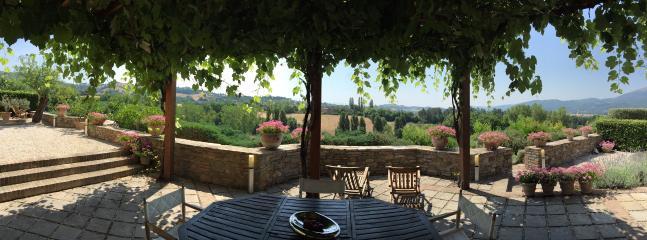 Views from shaded terrace at the main villa
