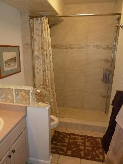 Ceramic tile walk-in shower