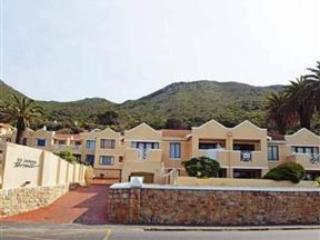 Front view and entrance of St James Terrace apartment from Main road St James, bordering on Kalk Bay