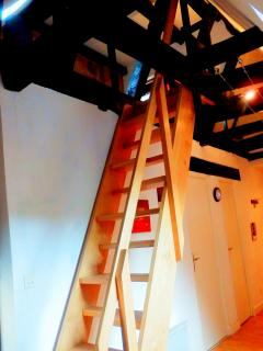 Stairs leading to the mezzanine