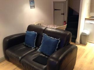leather sofa with dining area