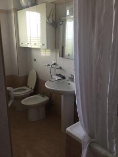 Bathroom with bathtub, shower and washer