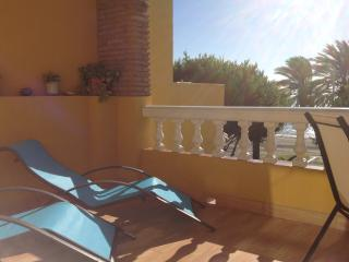 FANTASTIC TERRACE WITH TWO SUN BEDS, DINING TABLE AN CONFORTABLE CHAIRS.