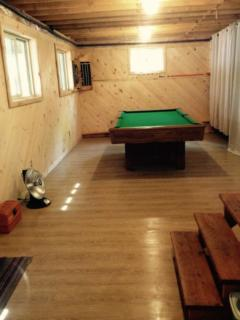basement with pool table,dart board, electric clothe dryer