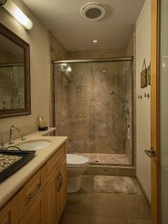 Second bathroom with large shower