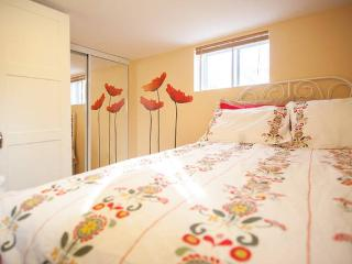 Regular wardrobe, mirror wardrobe and new, big, clean & soft double size bed with 100% cotton linen