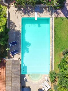 Huge private pool with separate pool-house