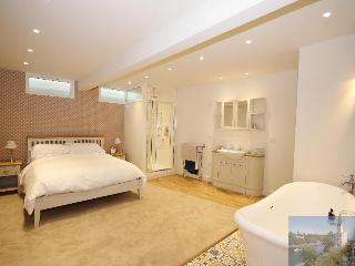 Extremely spacious, stylish and comfortable bedroom with large shower and  separate roll-top bath.