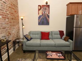 Queen size sofa sleeper in the living room.