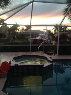 sunsets from the hot tub and pool! West facing lanai