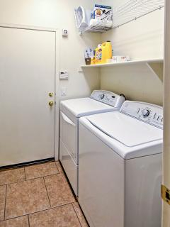 In-unit laundry machines allow you to be as comfortable as possible during your stay.