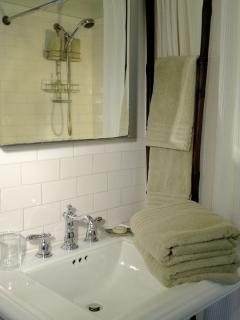All the familiar porcelains.  Full bath kept perfectly clean. Ample towels.