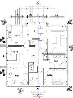 Grundriss der unteren Wohnung. Die Terrasse ist überdacht und hat den Blick direkt auf den NOK.